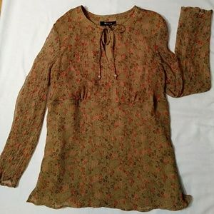 Style & Co tan flowered chiffon-like tunic Size 16